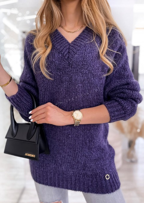 Sweter Cocomore V_neck THERESE fioletowy