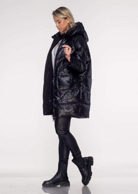 Włoski puchowy płaszcz NOELLE czarny