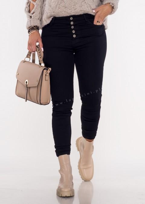 Spodnie jeansowe LAVINNO guziki czarne