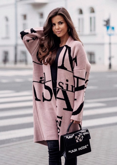 Sweter Cocomore EST. 2021 różowo-czarny