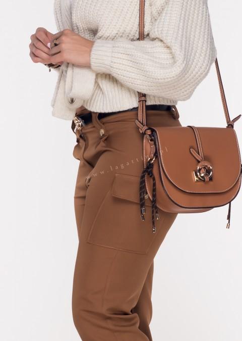 Włoskie spodnie JOGGERY FERIOLLE + pasek brązowe