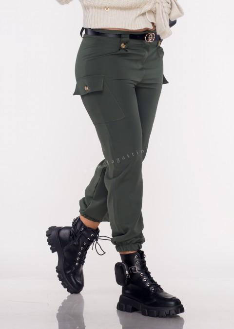 Włoskie spodnie JOGGERY FERIOLLE + pasek khaki