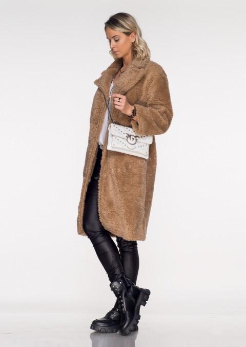Włoski płaszcz PORTOFINO shaggy beżowy