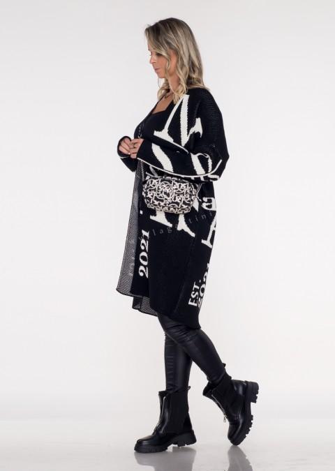 Sweter Cocomore EST. 2021 czarno-biały
