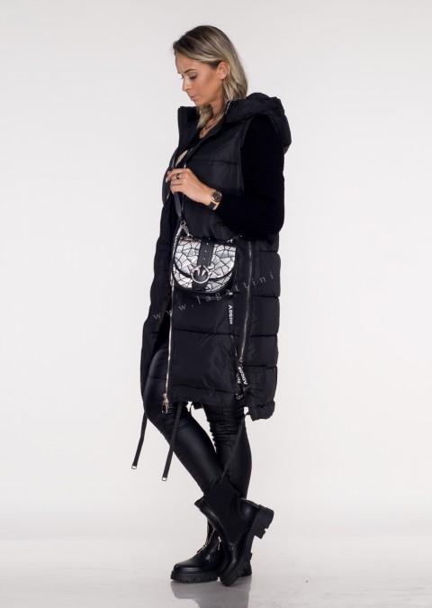 Włoska kamizelka VOGUE LONG silver zip black