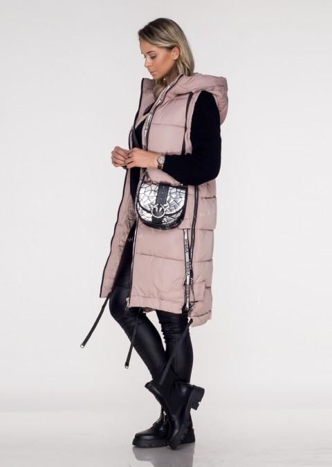 Włoska kamizelka VOGUE LONG silver zip pink