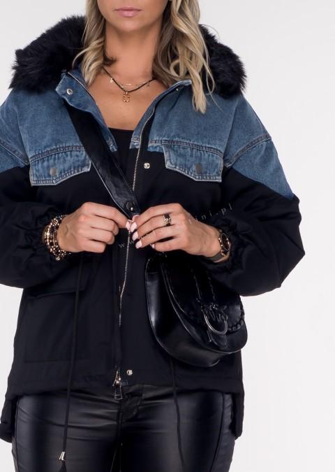 Kurtka parka BLACK FUR PREMIUM black/jeans