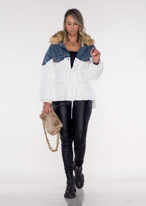 Kurtka parka BEIGE FUR PREMIUM white/jeans