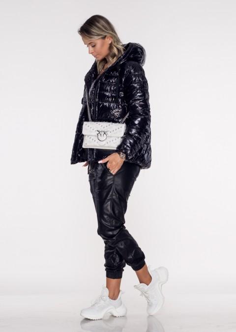 Włoska pikowana kurtka JERSAY czarny połysk
