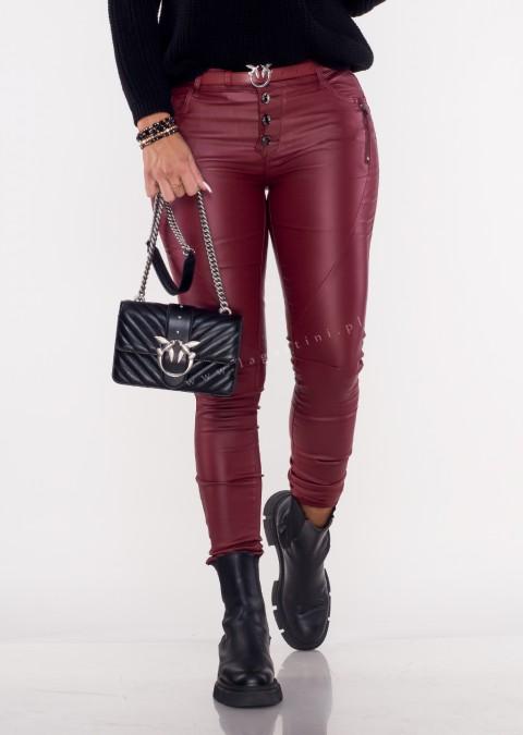 Spodnie woskowane ZIP&BOTTOMS bordowe