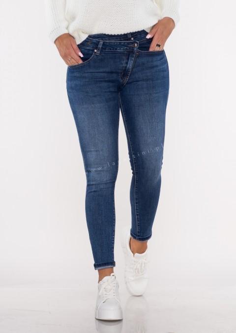 Włoskie jeansy ASYMETRYCZNY GUZIK denim