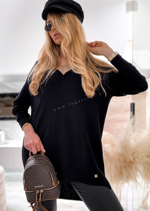 Sweterek tunika COCOMORE V_neck czarny