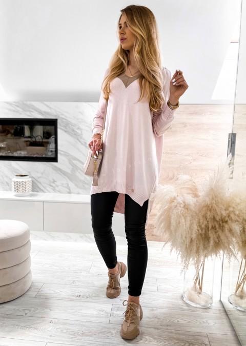 Sweterek tunika COCOMORE V_neck różowy