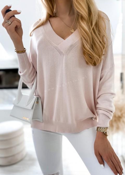 Sweterek COCOMORE V_neck różowy