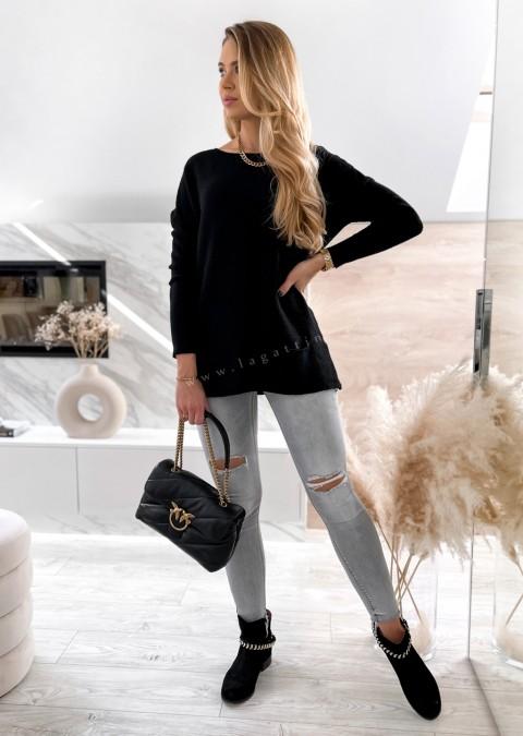 Włoski sweterek z miękkiej dzianiny 2 POCKETS czarny