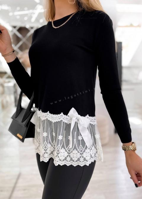 Włoski sweterek BEVLEE czarny