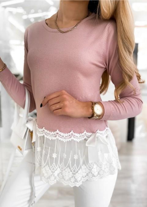 Włoski sweterek BEVLEE różowy
