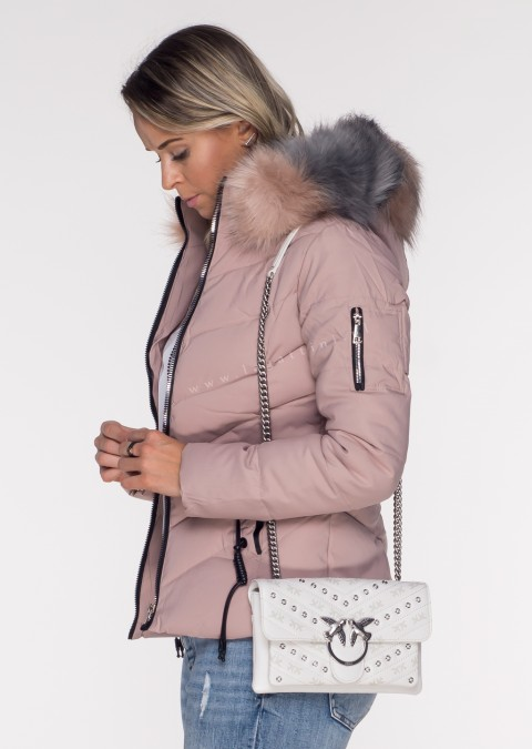 Włoska pikowana kurtka MONTE 2w1 odpinany kaptur różowa