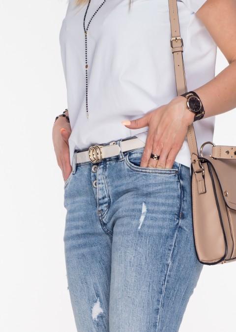 Jeansy RIPPED asymetryczne guziki blue jeans