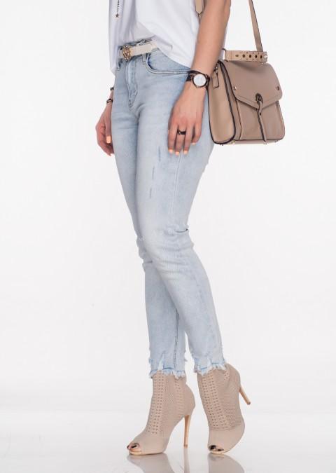 Włoskie jeansy RIPPED efektywna nogawka jasny jeans