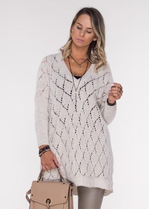 Włoski ażurowy sweterek VENZO beżowy