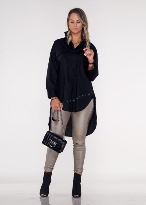 Włoska koszula RITTA LONG two pockets black