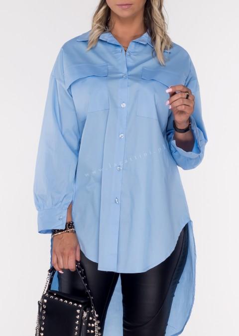Włoska koszula RITTA LONG two pockets blue