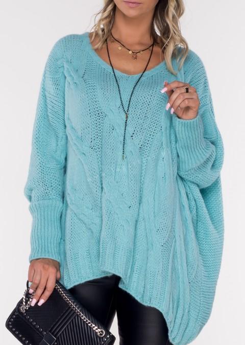 Włoski sweter SELVE turkusowy
