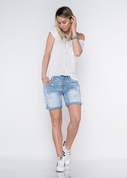 Italy szorty jeansowe guziki boyfriend