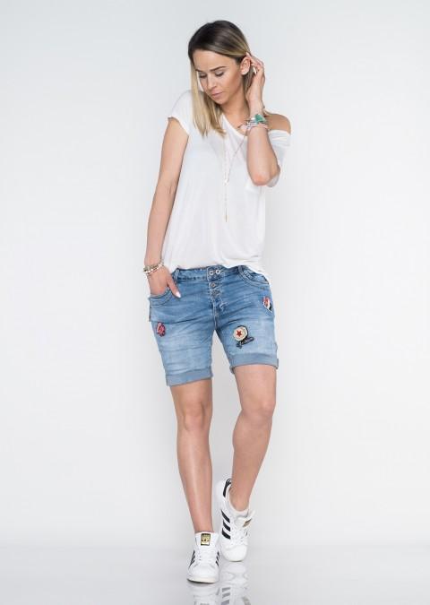 Włoskie szorty jeansowe baggy guziki naszywki