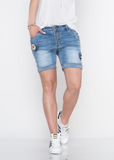 Włoskie szorty jeansowe baggy guziki naszywki II