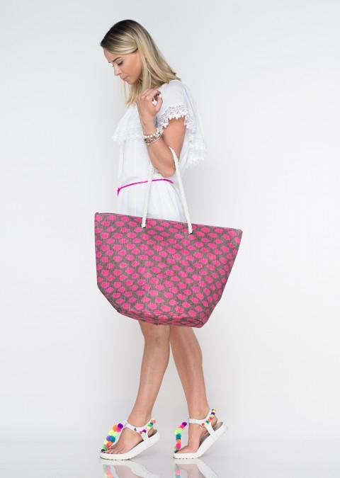 Włoska torba plażowa fluo shopper