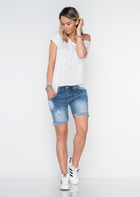 Włoskie szorty jeansowe baggy guziki