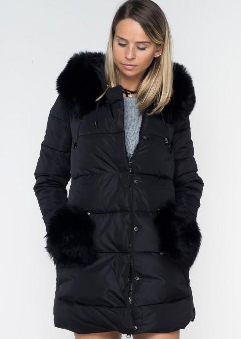 Pikowany płaszcz z futrzanymi kieszeniami BLACK FUR