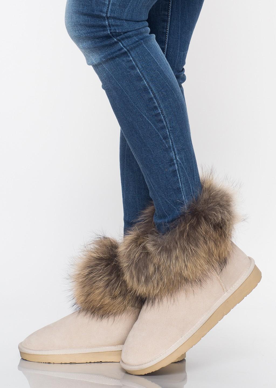 Buty śniegowce jenot futro beżowe