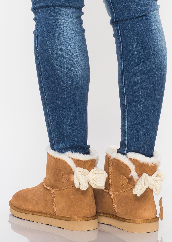 Śniegowce z naturalnej skóry zamszowej kokardki camel