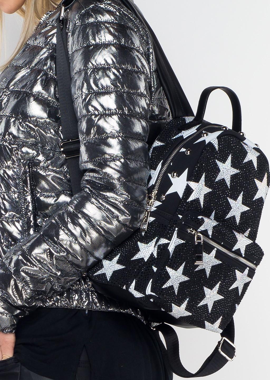 Włoski plecak ALEX MAX Luxury Star czarny/srebrny