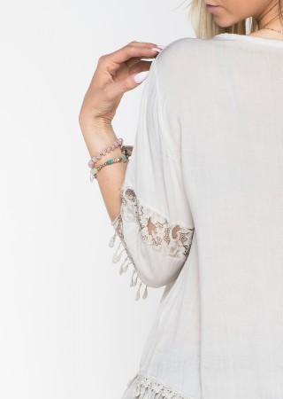 Włoska bluzka BOHO oversize beżowa