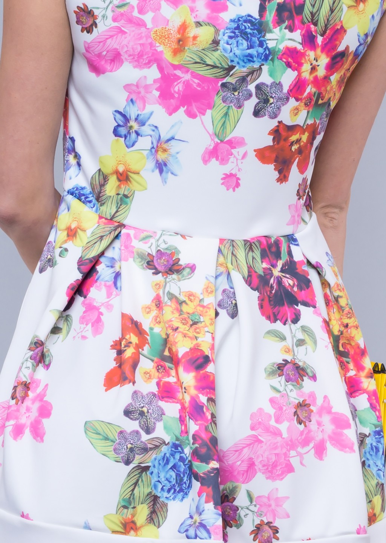 8f0036ca92 Sukienka rozkloszowana flower biała - Lagattini