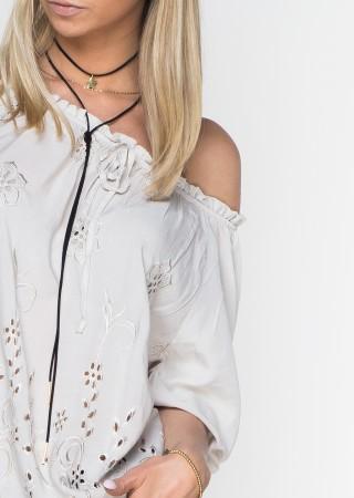 Włoska bluzka GRACE haftowana beżowa