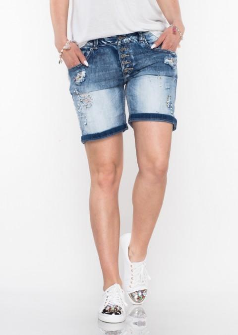 Włoskie szorty jeansowe PERLA guziki blue jeans