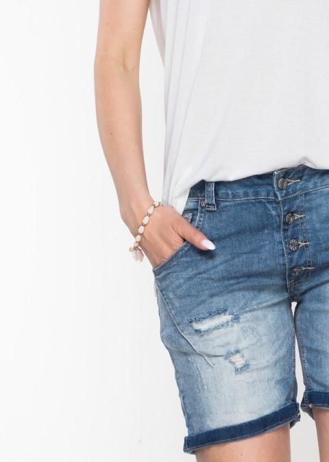 Włoskie szorty jeansowe PRZESZYCIA guziki