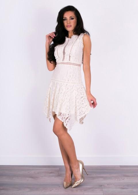 Włoska sukienka LUXURY koronka beżowa