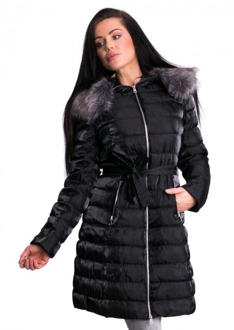 Włoski pikowany płaszczyk LADY czarny