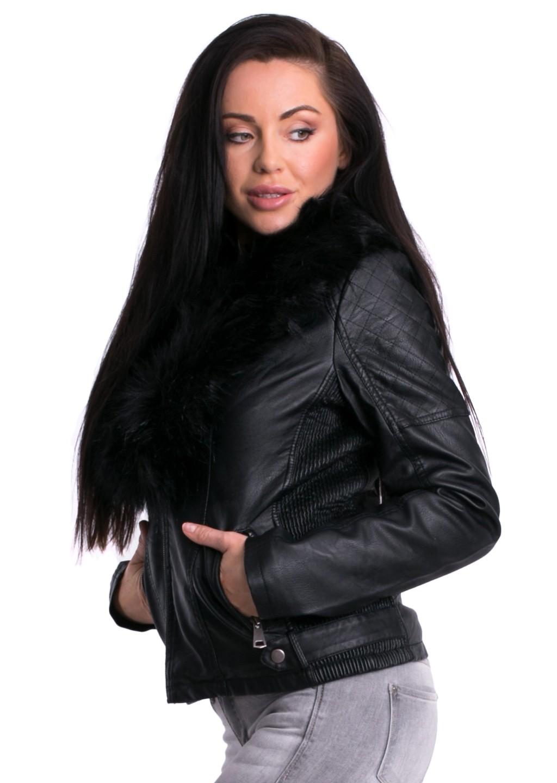 16aa19bf6ee68 Włoska ramoneska BLACK BIKER czarne futro - Lagattini